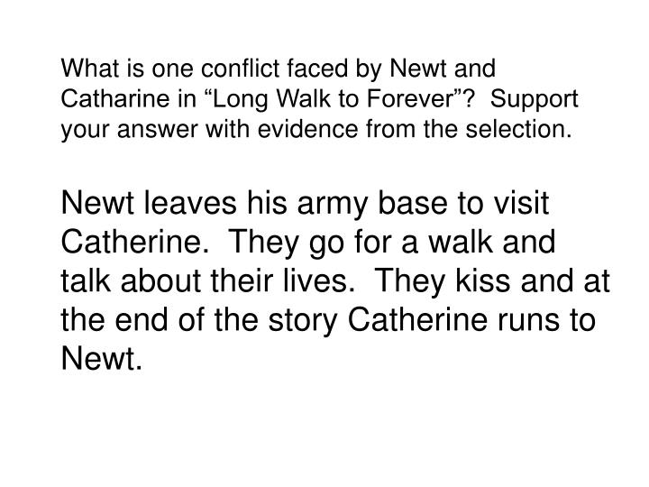 What is one conflict faced by Newt and Catharine in Long Walk to Forever?  Support your answer with evidence from the selection.