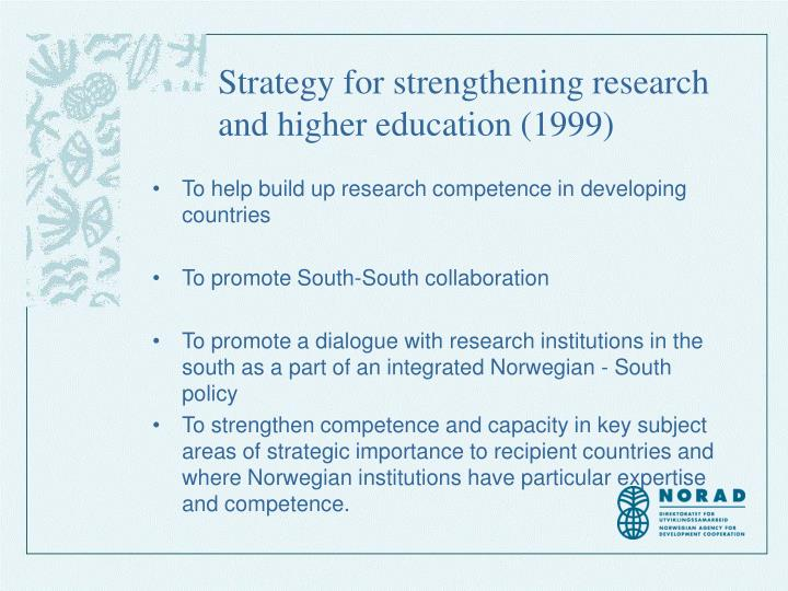 Strategy for strengthening research and higher education (1999)