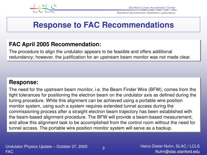 Response to FAC Recommendations