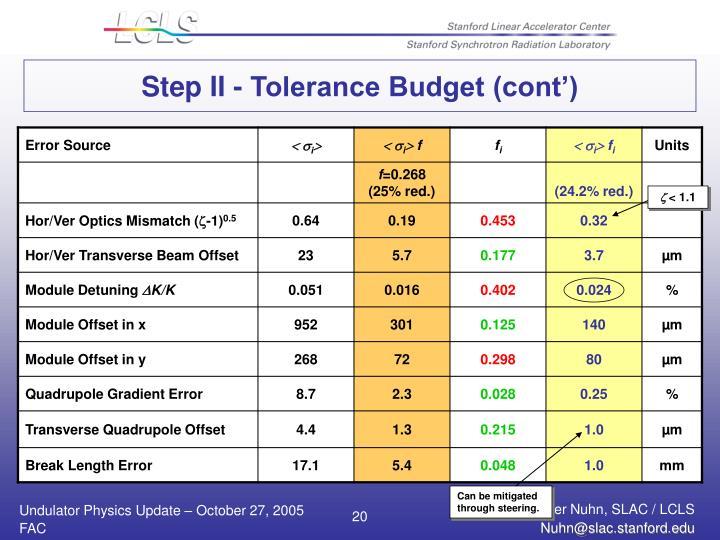 Step II - Tolerance Budget (cont')