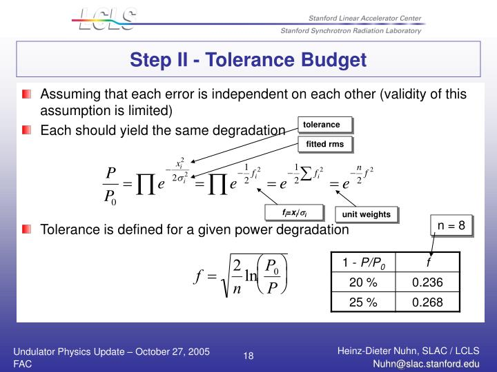 Step II - Tolerance Budget