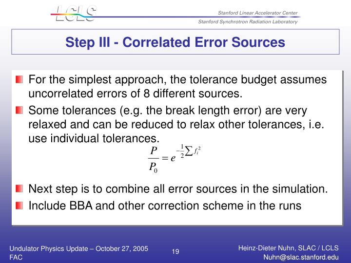 Step III - Correlated Error Sources