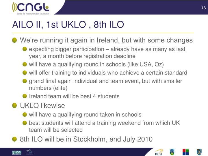 AILO II, 1st UKLO , 8th ILO
