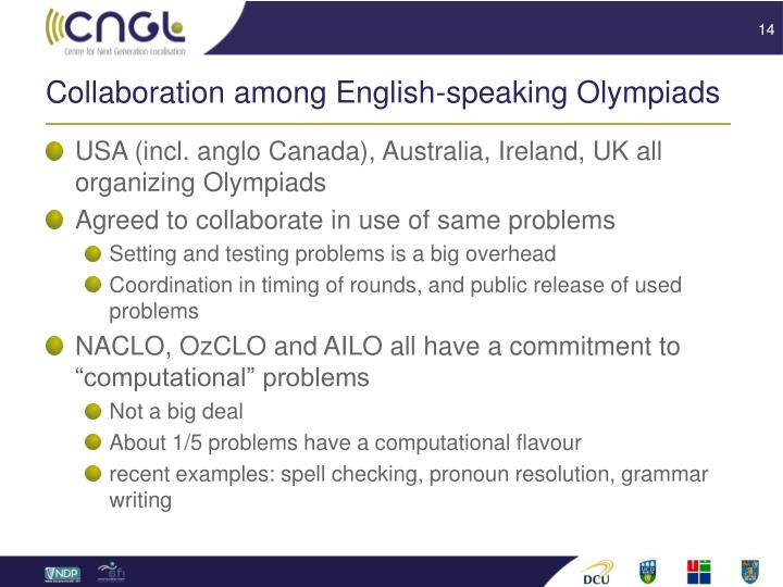 Collaboration among English-speaking Olympiads