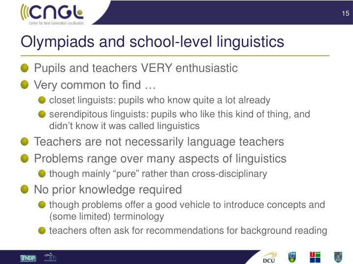 Olympiads and school-level linguistics