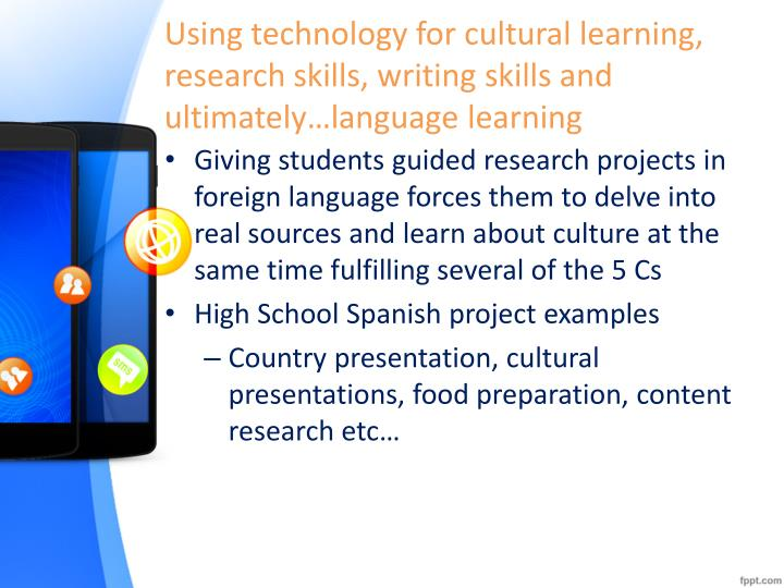 Using technology for cultural learning, research skills, writing skills and ultimately…language learning