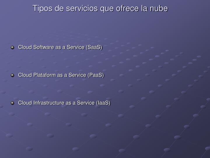 Tipos de servicios que ofrece la nube