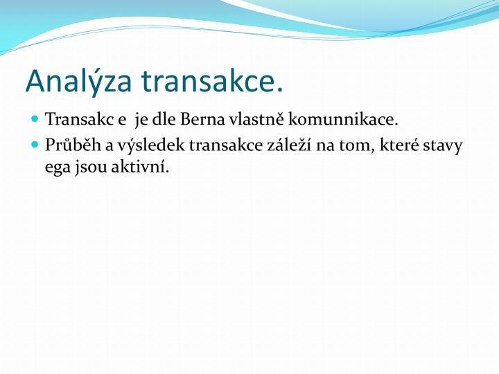 Analýza transakce.