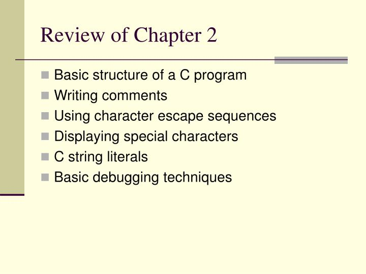 Review of Chapter 2