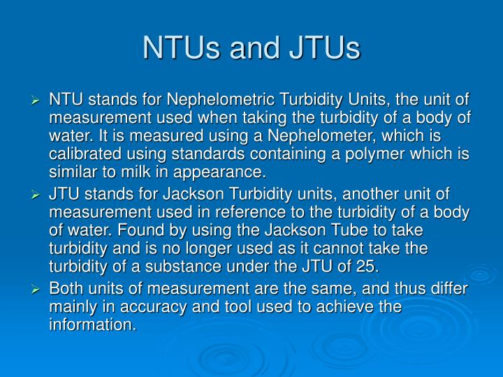 NTUs and JTUs