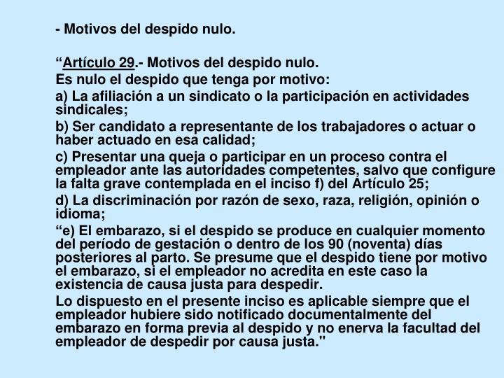 - Motivos del despido nulo.