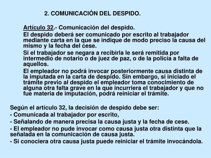 2. COMUNICACIÓN DEL DESPIDO.