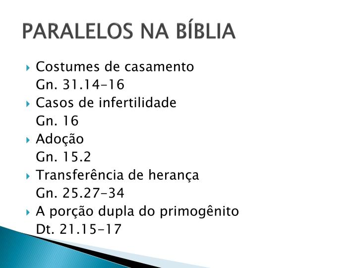 PARALELOS NA BÍBLIA