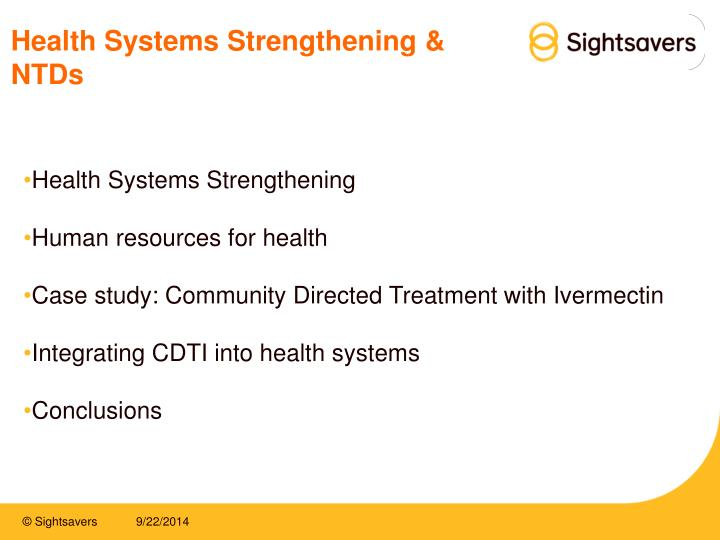 Health systems strengthening ntds