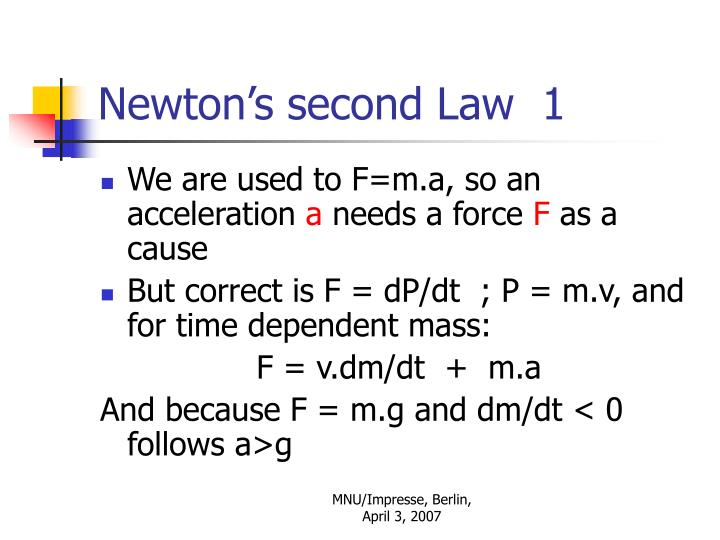 Newton's second Law  1