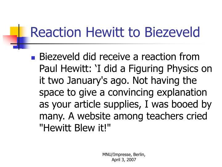 Reaction Hewitt to Biezeveld