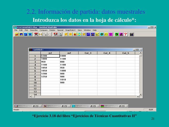 2.2. Información de partida: datos muestrales