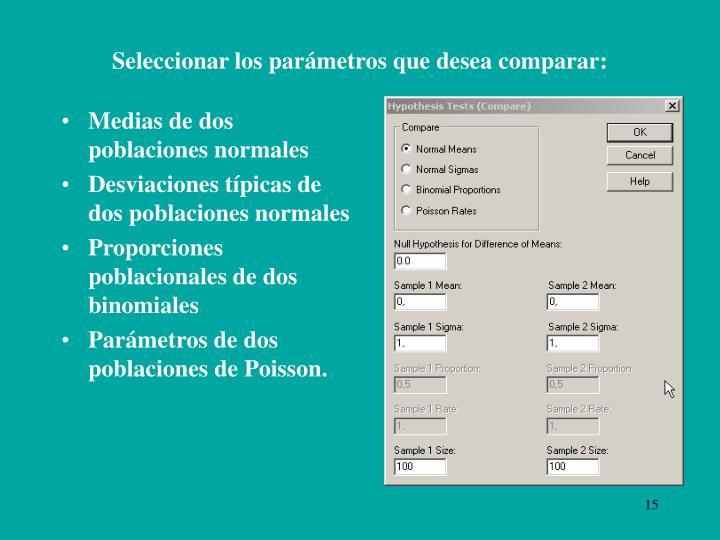 Seleccionar los parámetros que desea comparar: