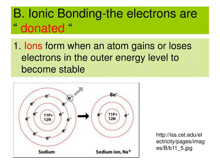 """B. Ionic Bonding-the electrons are  """""""