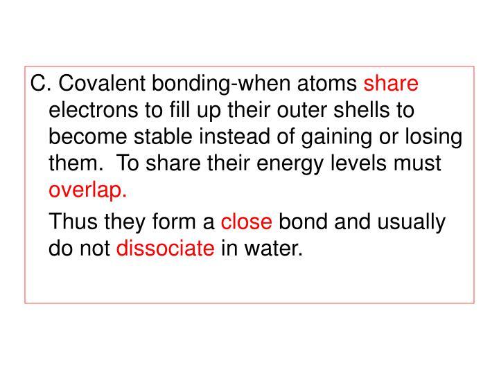 C. Covalent bonding-when atoms