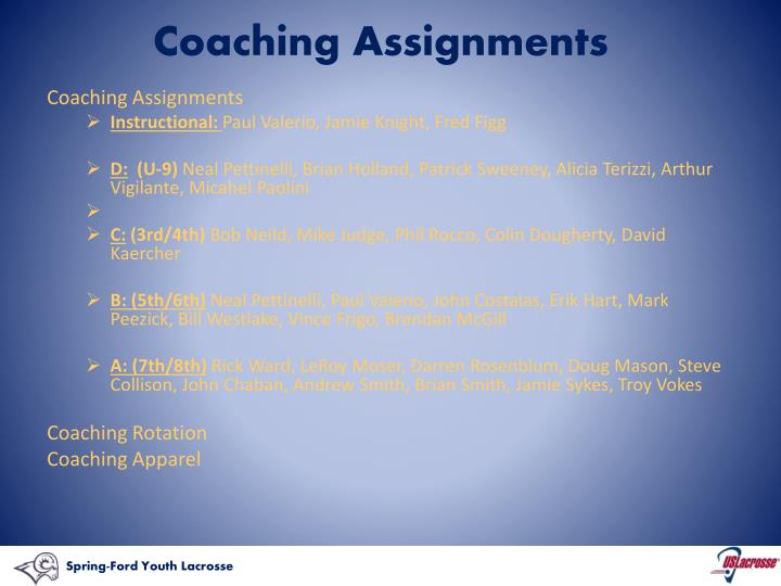 Coaching Assignments