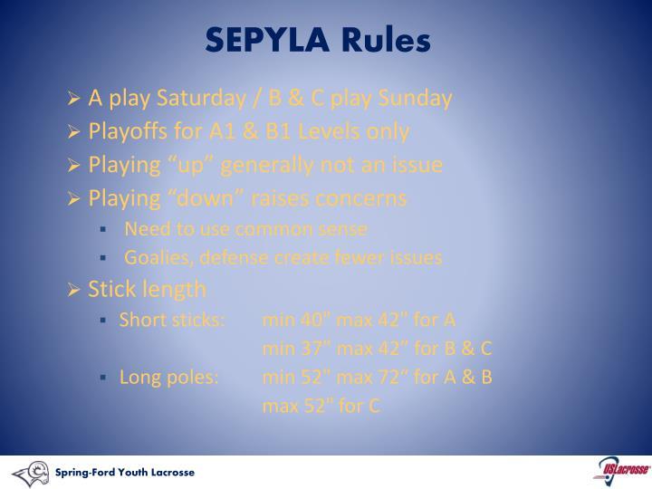 SEPYLA Rules