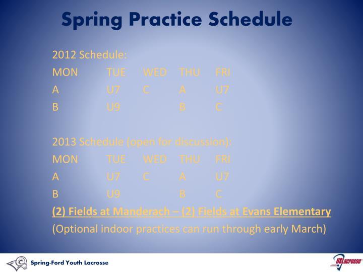 Spring Practice Schedule