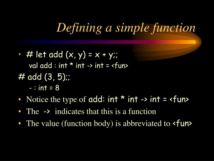Defining a simple function