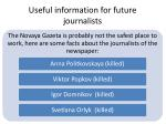 useful information for future journalists