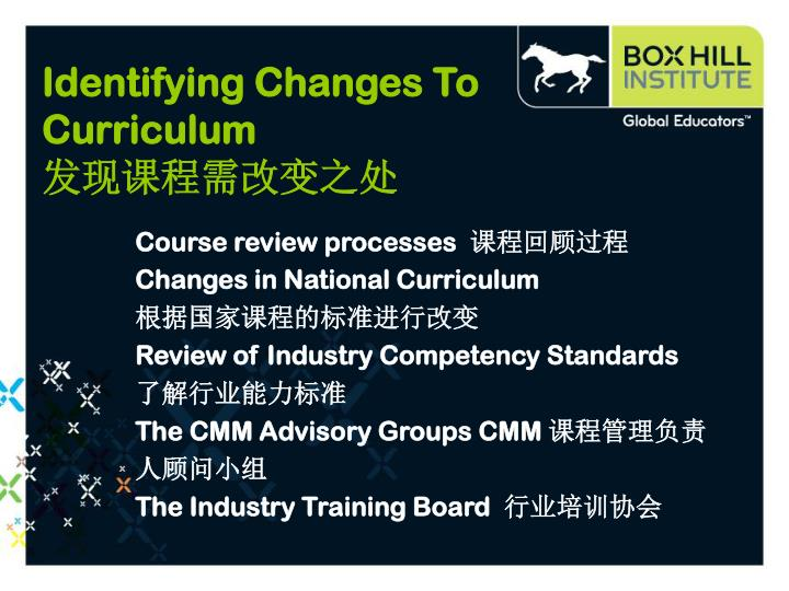 Identifying Changes To Curriculum