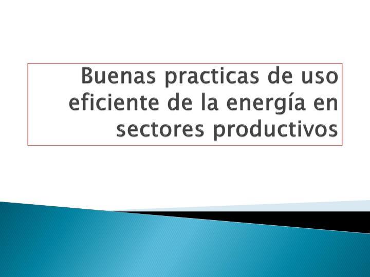 Buenas practicas de uso eficiente de la energía en sectores productivos