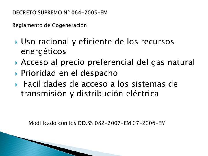 DECRETO SUPREMO Nº 064-2005-EM