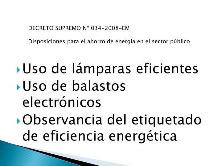 Uso de lámparas eficientes