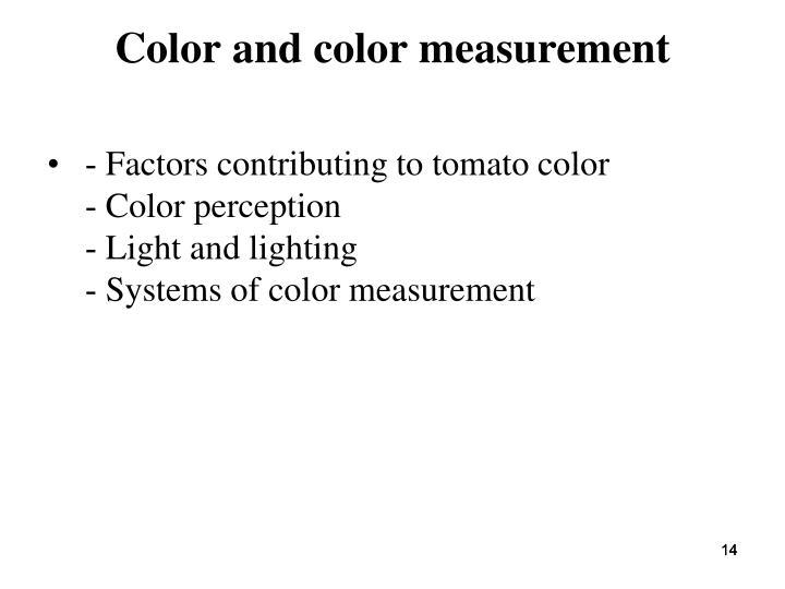 Color and color measurement