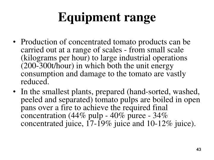 Equipment range