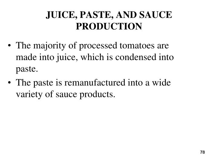 JUICE, PASTE, AND SAUCE