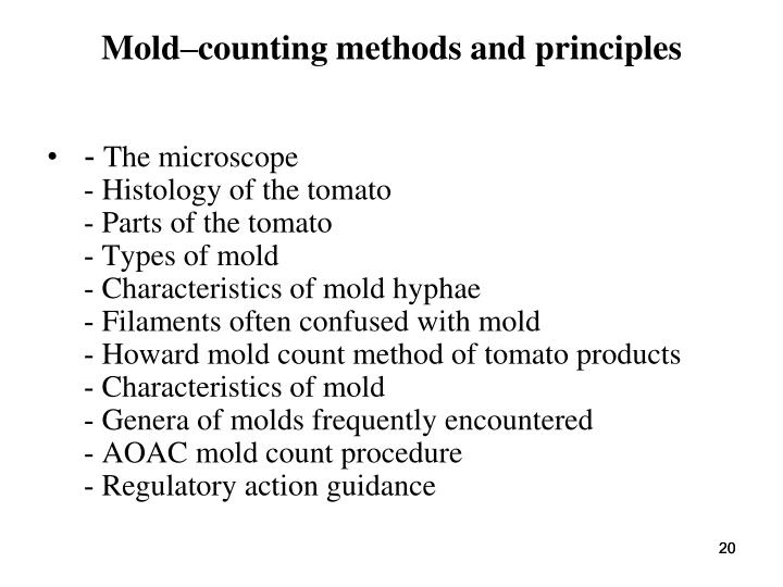 Mold–counting methods and principles