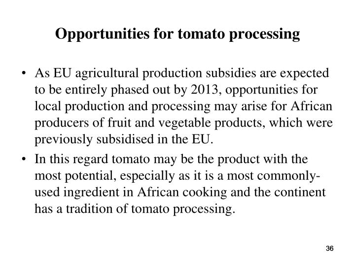 Opportunities for tomato processing