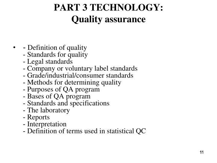 PART 3 TECHNOLOGY: