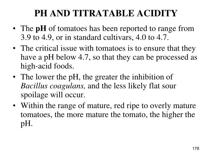 PH AND TITRATABLE ACIDITY