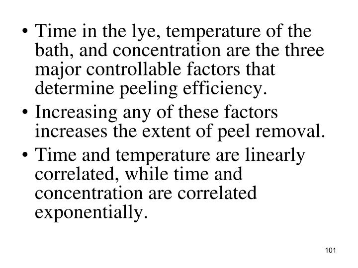Time in the lye, temperature of the bath, and concentration are the three major controllable factors that determine peeling efficiency.