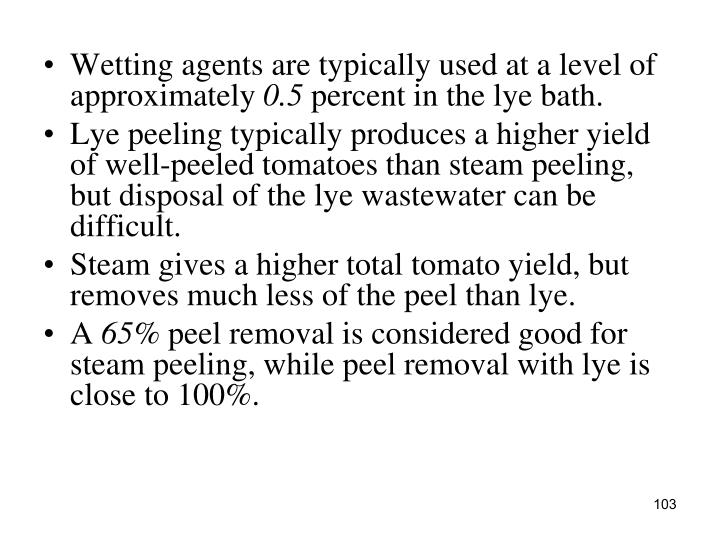 Wetting agents are typically used at a level of approximately