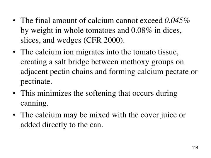 The final amount of calcium cannot exceed