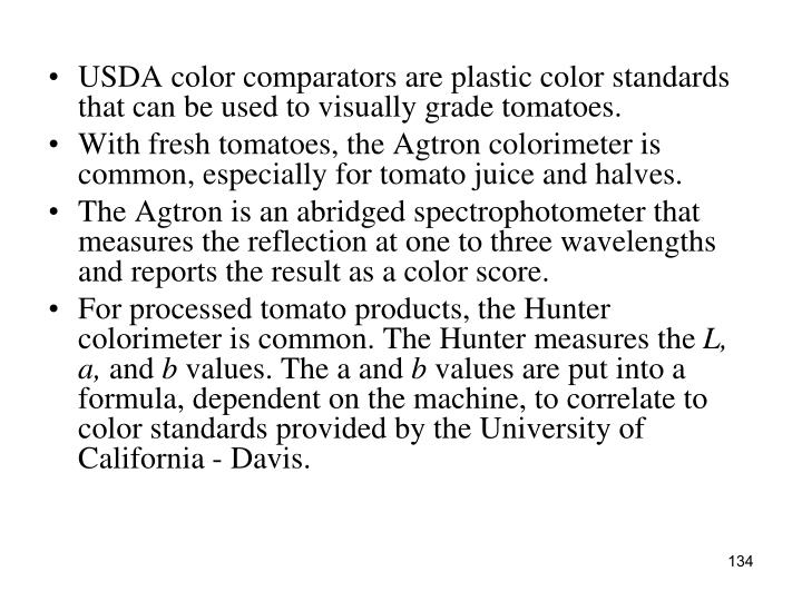 USDA color comparators are plastic color standards that can be used to visually grade tomatoes.
