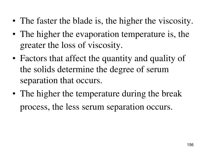 The faster the blade is, the higher the viscosity.