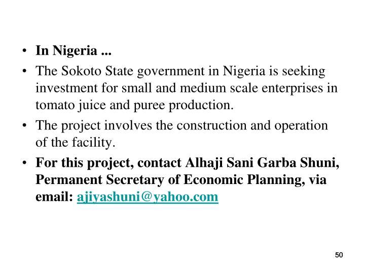 In Nigeria ...