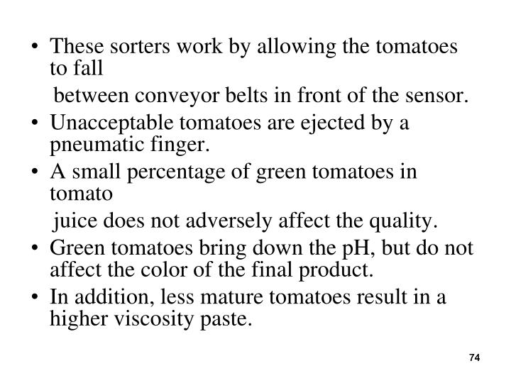 These sorters work by allowing the tomatoes to fall