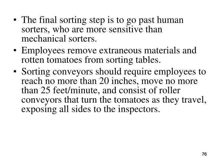 The final sorting step is to go past human sorters, who are more sensitive than mechanical sorters.