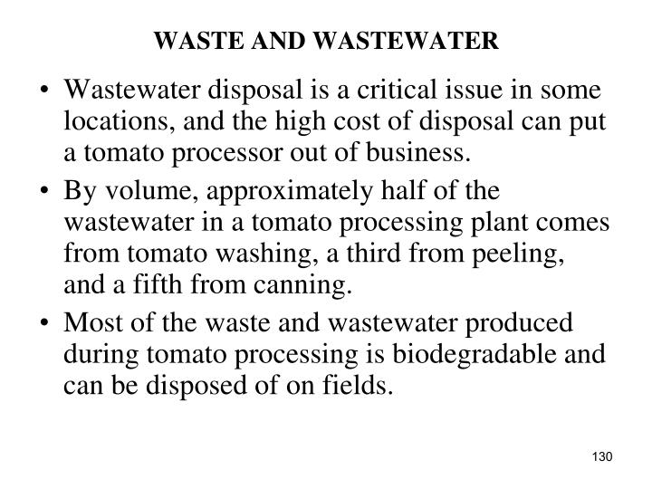 WASTE AND WASTEWATER