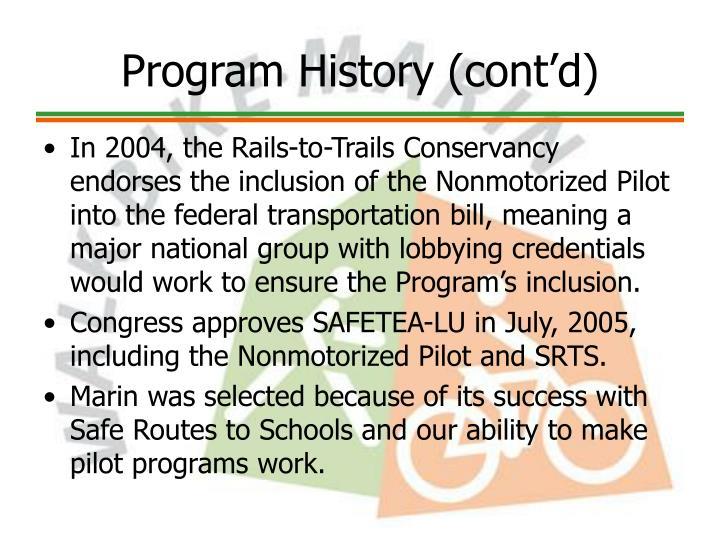 Program History (cont'd)